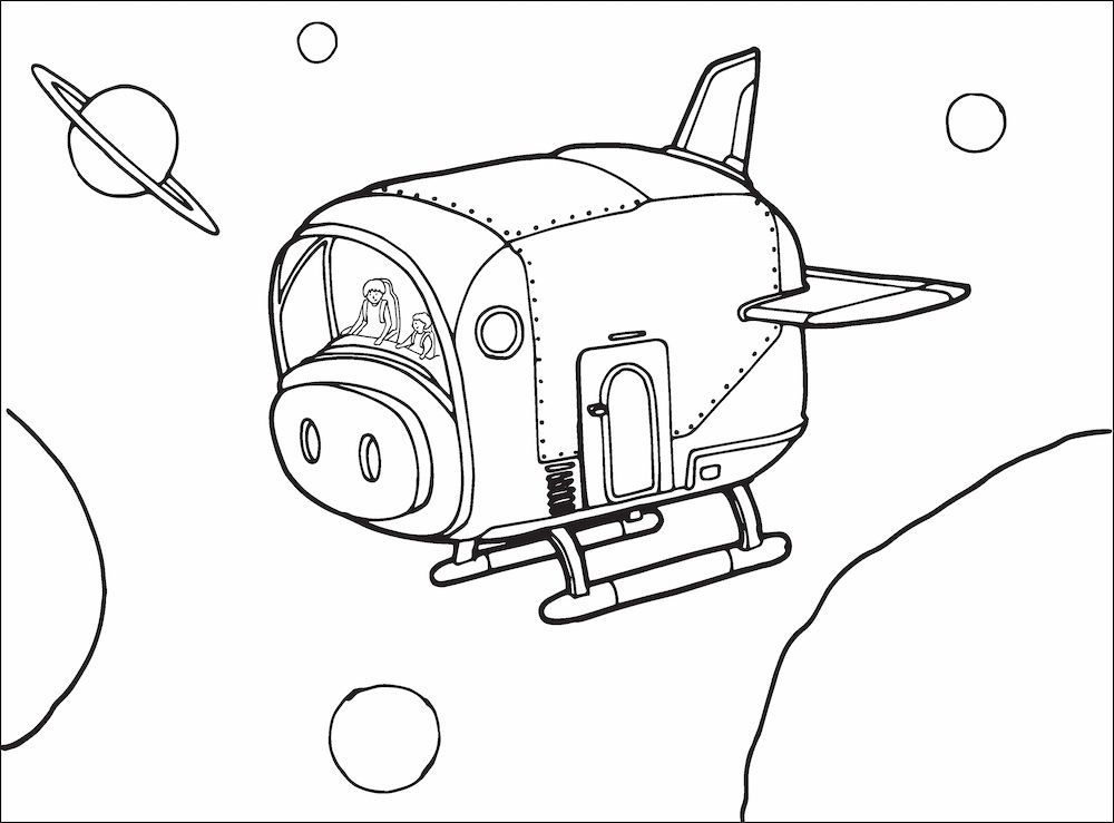 Arlowe Wild in the Space Piglet with Granny Yai Yai heading for Space